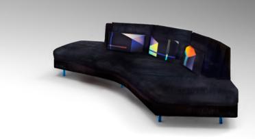 Canapé, piétement laqué turquoise. Coussins en tapisserie Robert Four. Pièce unique. Dimensions : Longueur 3.60 Profondeur 1m