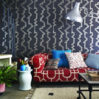 wallpaper Bamboozle, sofa Pavillon, cushions, ikat Basket, palm plain, drawn threads, chinese checkers