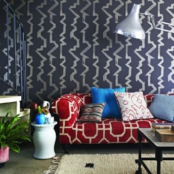 wallpaper Bamboozle, sofa Pavillon, cushions, ikat Basket, palm plain, drawn threads, chinese checkers