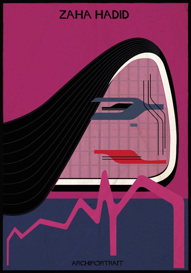 Archiportrait Zaha Hadid par Federico Babina