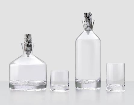 %22Alba%22, carafes et verres de Joe Doucet, www.nudeglass.com