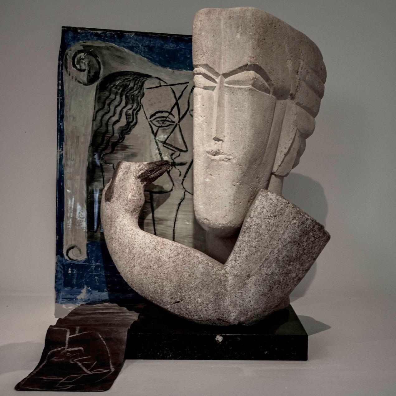 Le sculpteur, Marbre, granite, pierre, plomb et verre peint, nat