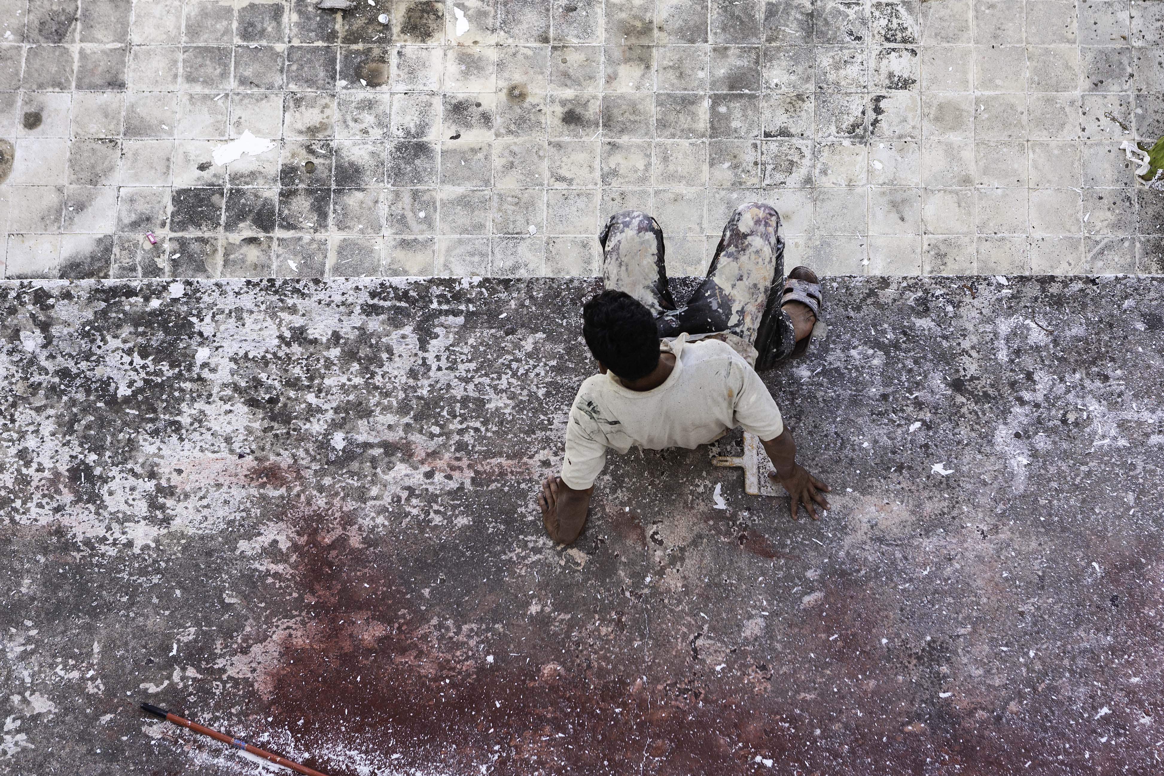 Travaux, peinture, l'homme caméléon, gildalliere, Tanger, 2012
