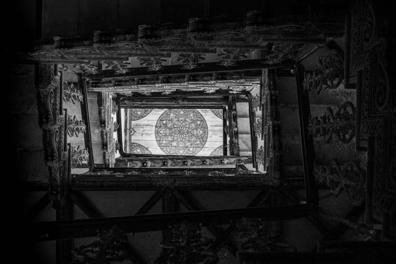 Plafond peint, escalier du palais El Mokri, Fès, Maroc, gildalliere, 2020